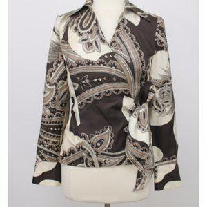 Ann Taylor Brown Paisley Silk Wrap Blouse Sz12